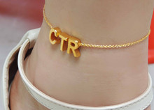 2015 free worldwide shipping, New Year uppercase chains, anklets personality, any three letters custom anklets, fashion jewelry