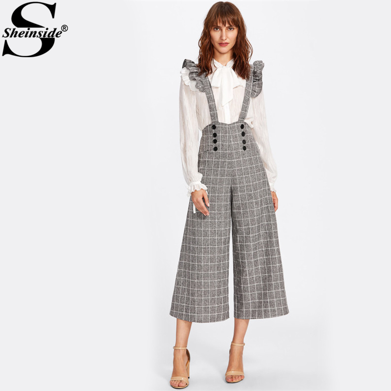 Sheinside Double Breasted Culotte Wide Leg Pants With Ruffle Strap Fashion Grey Plaid High Waist Elegant Cropped Pants