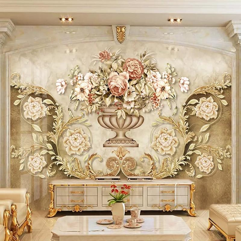 European Style Luxury Flowers Photo Wallpaper 3D Retro Living Room TV Sofa Background Wall Painting Papel De Parede Sala Fresco