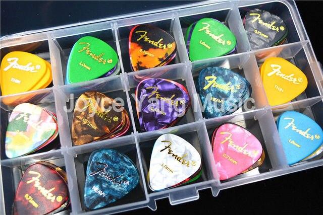 100 יחידות פרל Celluloid אקוסטית חשמלי גיטרה מבחר Plectrums + 1 גדול פלסטיק מבחר בעל מקרה תיבת משלוח חינם