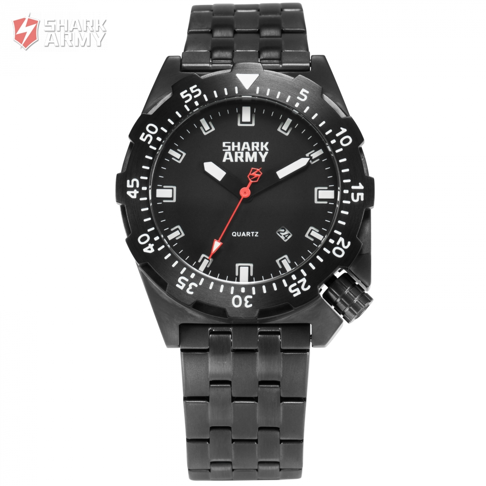 Shark Army 100m Water Resistant Black Full Steel Sport Minimalist Watch Auto Date Relogio Clock Military Wrist Watches /SAW190 military glow in the dark water resistant quartz wrist watch army green 1 x sr626sw
