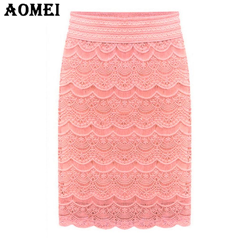 5XL  XXL Women Lace High Waist Skirts Beige Knee Length Brief Office Ladies Faldas Praia Bottoms Grunge Skort 2020 Spring Summer