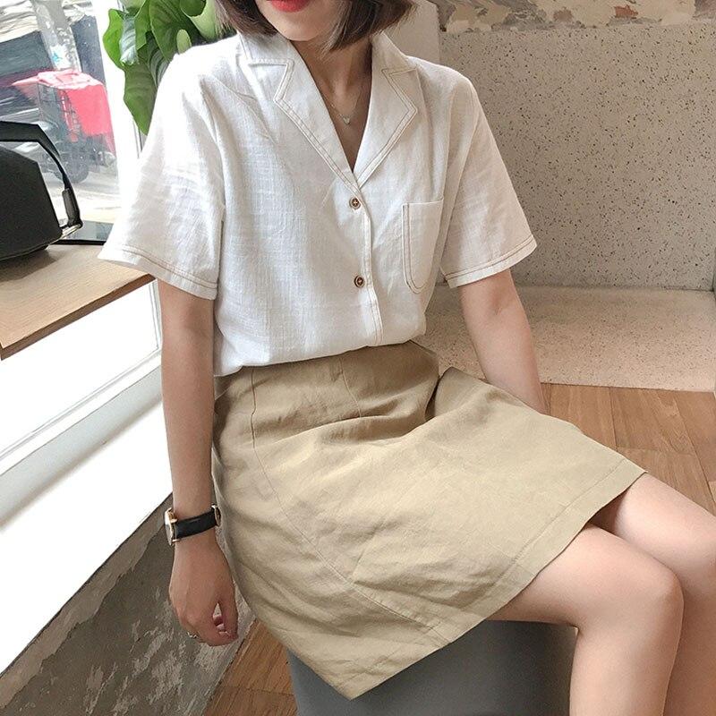 2019 New Korean Style Clothing Women Summer Turn-down Collar Short Sleeve Loose Blouse Woman Harajuku Casual Shirt