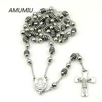 AMUMIU Christmas Gift Jesus 70cm 6mm Plastic Beads Mens Necklace Rosary Cross Catholic Religious Jewelery Wholesale