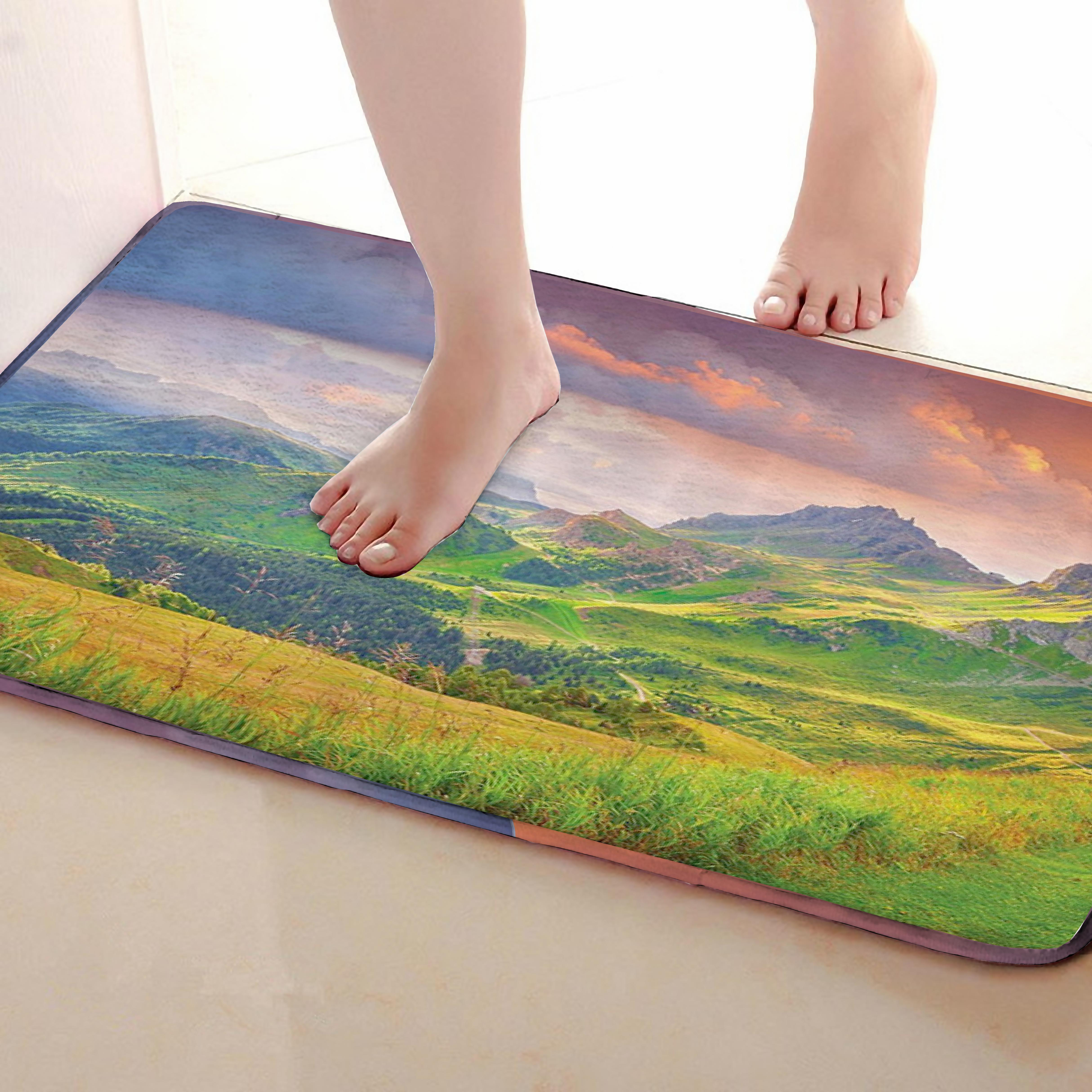 Mountains Style Bathroom Mat,Funny Anti skid Bath Mat,Shower Curtains Accessories,Matching Your Shower Curtain