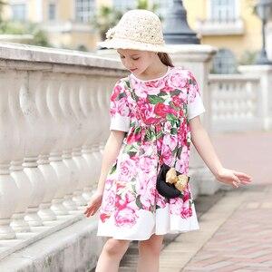 Image 4 - Beenira çocuk giysileri 2020 yeni yaz tarzı çocuk kısa kollu moda çiçek prenses elbiseler kızlar için tasarım giyim elbise