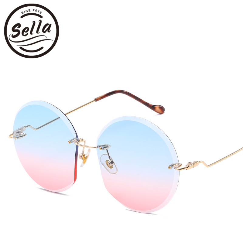Sella New Fashion Rimless Gradient Sunglasses Trending Women Oversized Retro Round Colorful Lens Sun Glass Unique Eyewear Frame