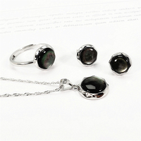 100% 925 Sterling Silver Women Jewelry Set Black Shell Onyx Green Chalcedony Blue Turquoise Natural Stone Necklace Earrings Ring