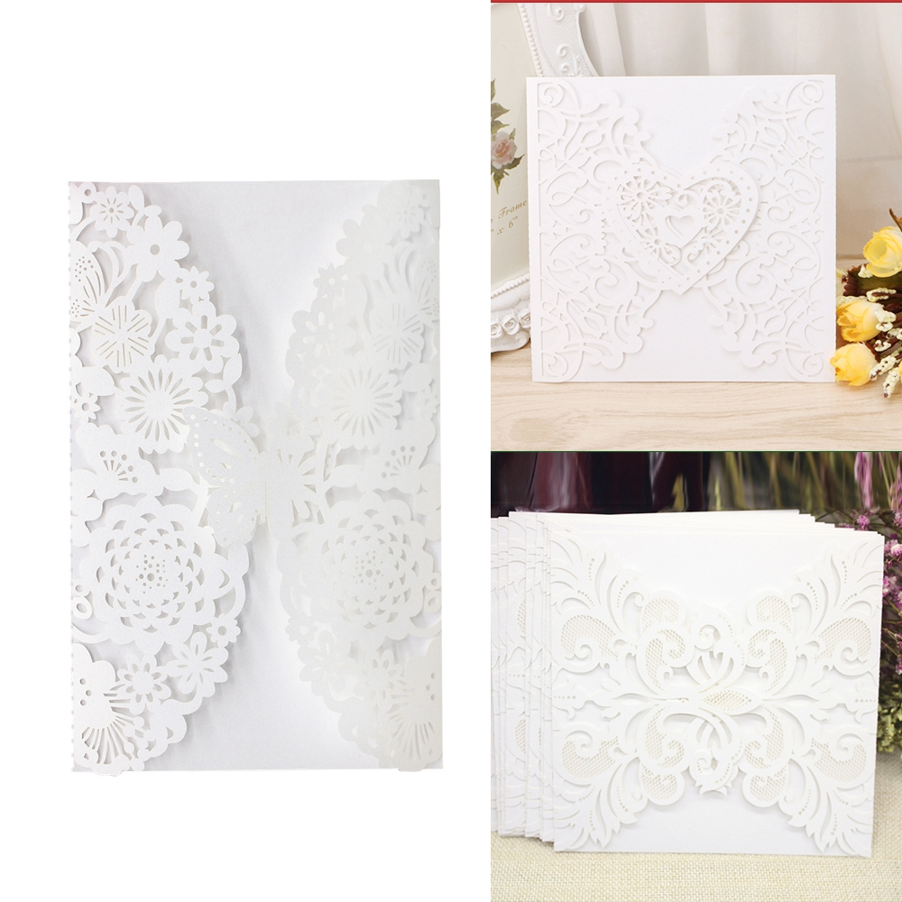 Personalised White Luxury Floral Lace Laser Cut Wedding Invitation ...