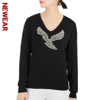 NEWEAR Fashion Winter Tops Women Sexy Knitted Sweater V Neck Long Sleeve Pullovers Womens Beaded Eagle