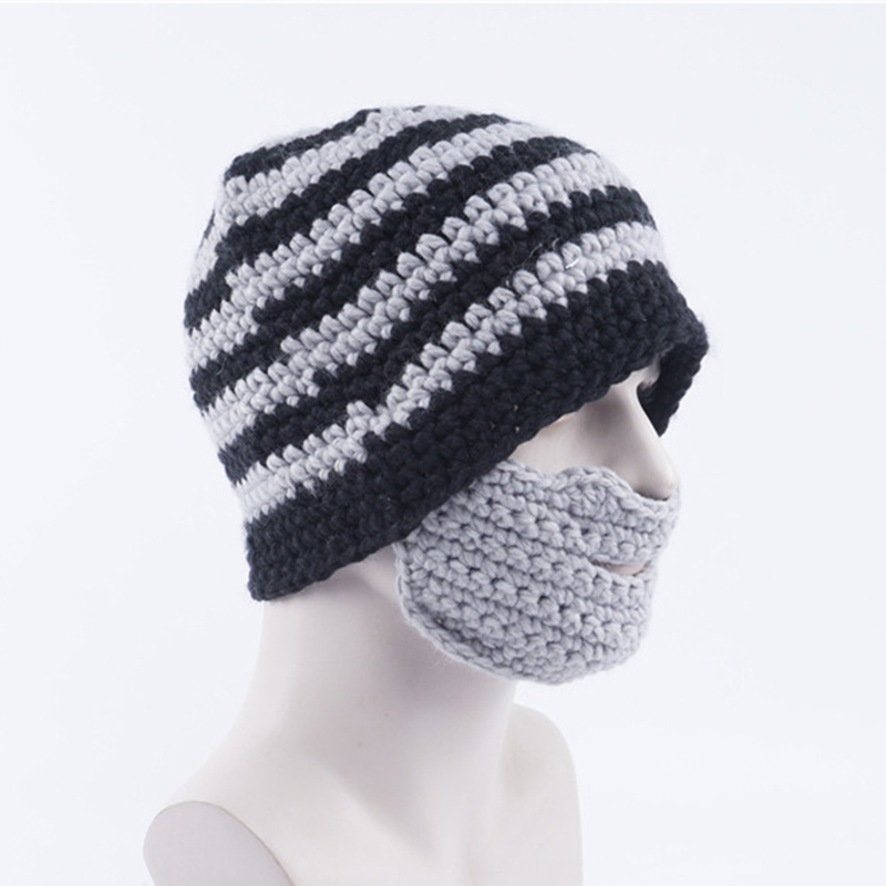 Novelty Knitted Beanie Hat With Detachable Beard Funny