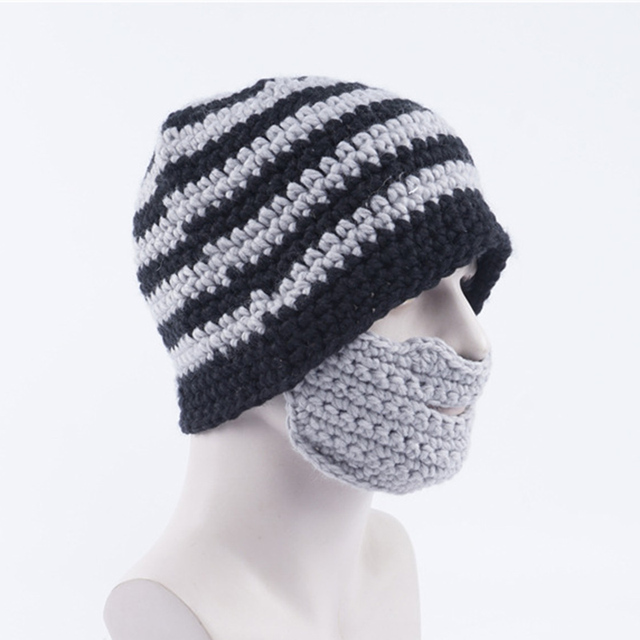 75f791acee5 Novelty knitted Beanie Hat With Detachable Beard funny Face Mask Bearded Hat  caps Winter Ski crochet Knit Hat black yellow
