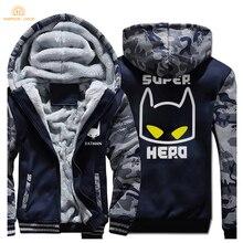 Super Hero Batman Anime Cartoon Zipper Hoodies 2019 Winter Fleece High Quality Sweatshirts Men Thick Mens Coat Harajuku Jackets