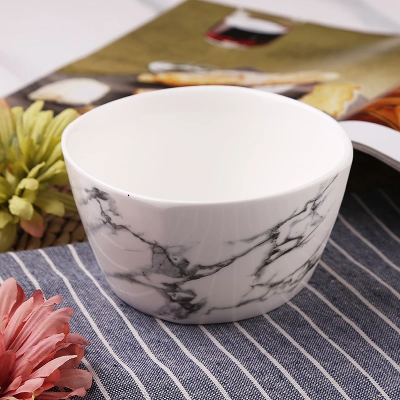 Marble Design Ceramic Square Bowls Porcelain Dinner Bowls