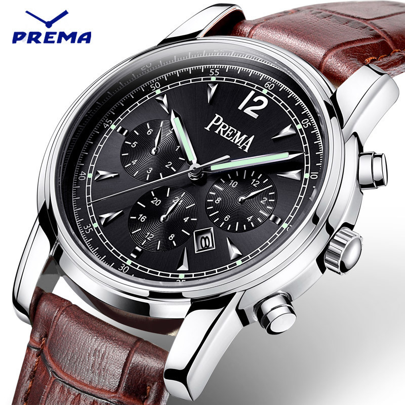 PREMA 2016 New Watch Men Calendar Display Brand Luxury Sport Men's Watches Leather Quartz Waterproof Clock Military Army Fashion weide new men quartz casual watch army military sports watch waterproof back light men watches alarm clock multiple time zone