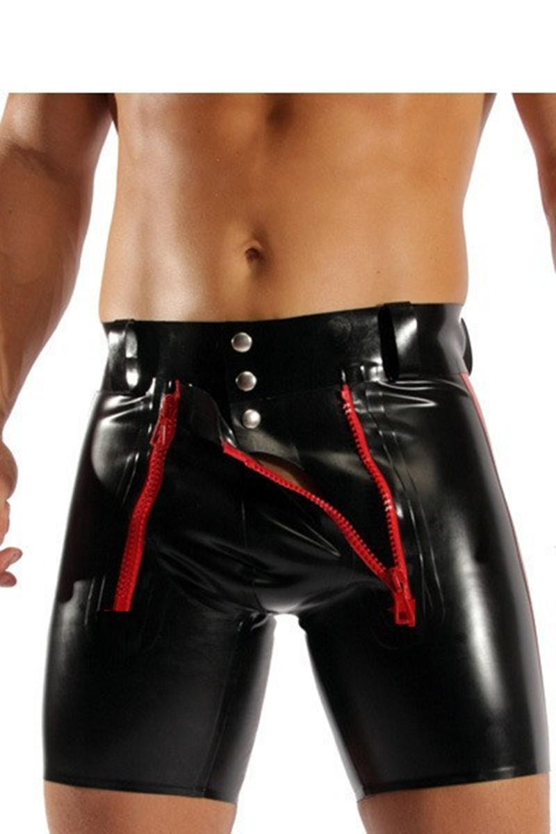 2018 Men Sexy Latex Bodysuit PVC Faux Leather Teddy Fetish Costumes PU Catsuit Men Short Pants Patent Leather Crotchless
