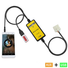 цены на Car Auto CD adapter mp3 3.5mm AUX TF SD USB For Mazda 5 323 Miata MX5 MPV RX8 Aux cable The 3.5 mm audio adapter OEM QX023