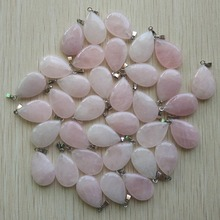 цена на 2015 Hot Sell High Quality Natural rose quartz stone water drop charms pendants fit necklace jewelry 50pcs/lot wholesale Free