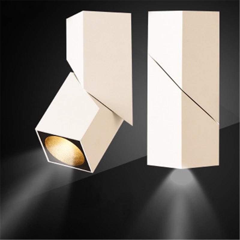 Black/white led downlight 3 W/5 W/7 W/10 W/12 W/ 15 W superfície montada AC85-265V Ajustável 360 Rotatória led lâmpada CONDUZIU a Lâmpada Do Teto