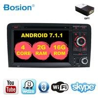 4 ядра 2din Android 7,1 автомобильный DVD/CD плеер gps навигация Авторадио Стерео DVD плеер + Navi для Audi A3 S3 2006 2011 Автомобильная Мультимедийная система