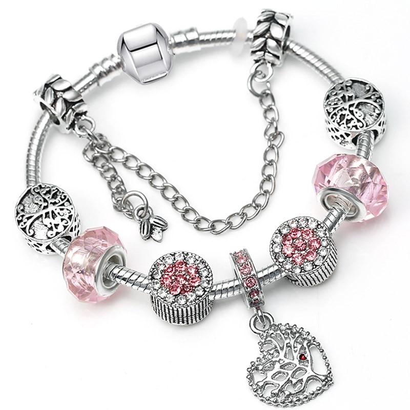 BAOPON Прямая поставка винтажные Подвески серебряного цвета браслеты для женщин DIY Кристальные бусины изящные браслеты для женщин Pulseira ювелирные изделия - Окраска металла: Type 20