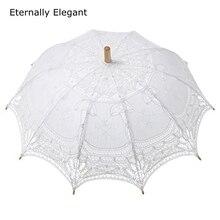 2015 Embroidered White/Ivory Battenburg Lace Parasol Umbrella Wedding Umbrella Wedding Bridal Decorations Free Shipping
