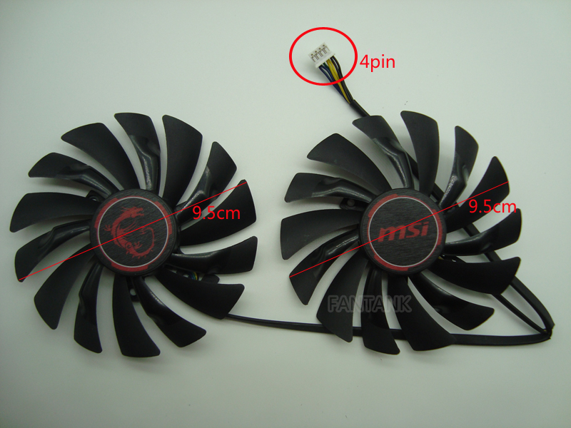 FreeShipping NEW 2pcs/lot PLD10010S12HH 4PIN 95mm DC12V 0.4A for MSI GTX960 GTX950 R9 380 390/390X GAMING Graphics card fan