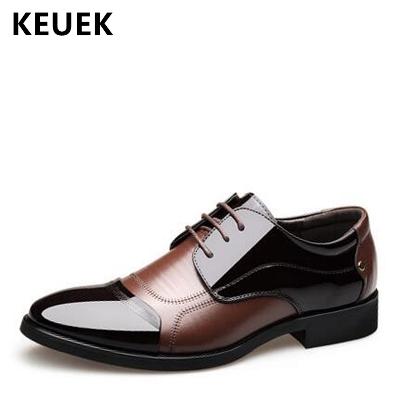 New Arrival Men Dress shoes Lace Up Luxury Casual Leather shoes Male Flats Wedding shoes Official Business Oxford shoes 02C