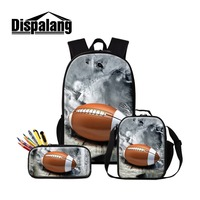 Dislapang Custom Photos Word 3Pcs RugbyBall School Backpack and Lunch Pouch Bag Pencil Case for Boy Student Insulated Cooler Bag