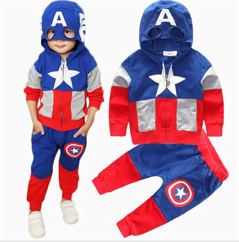 Superhero Kids Cosplay Captain America Costume Halloween Children Captain America Costumes Spring Autumn Zip-Up Hoodie+Pants Set