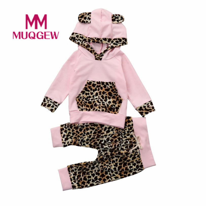 b1f28126802e Infant Baby Girls Leopard Print Hoodie Tops+Pants Outfits Kids Girl's  Clothes Hooded Set Winter Spring Outfit Drop Shipping#Z30
