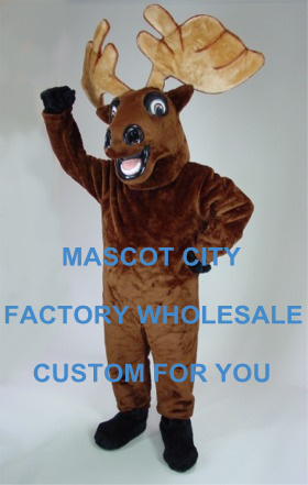 Forest Animal Theme Carnival Cosply Costume Mr. Moose Mascot Costume Adult Outfit Suit Fancy Dress SW864