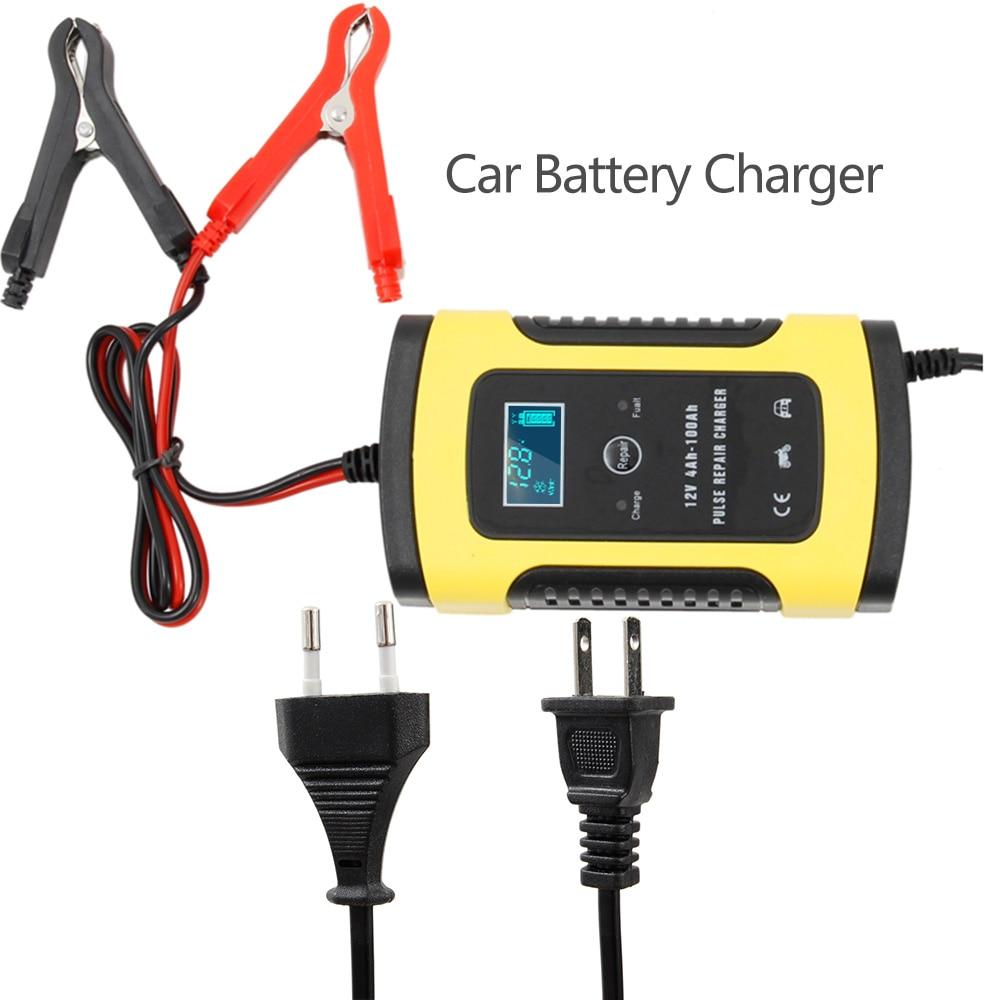 Cargador de batería de coche automático completo 110V a 220V a 12V 6A LCD Carga de energía rápida inteligente para auto motocicleta húmedo seco plomo ácido