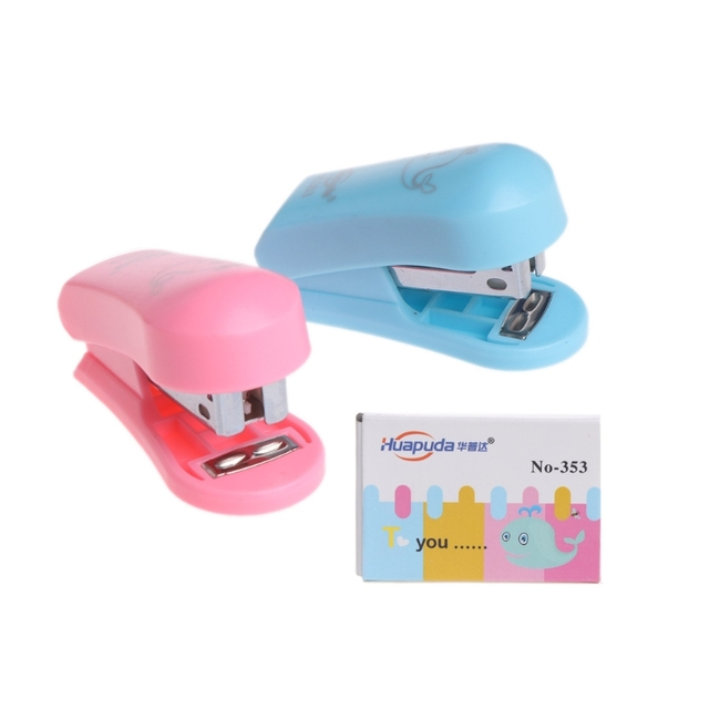 Colorful Mini Stapler Staples Set Home Office Paper Document Bookbinding  Tool