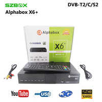 Alphabox X6 + Combo DVB-S2/T2/C récepteur de télévision par Satellite prise en charge Cccam Newcamd Mgcamd Powervu clé TV tourneur USB Wifi alphabox x6