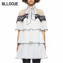 73aba801d BLLOCUE alta calidad auto retrato vestido 2018 verano mujeres moda Ruffles  mangas Patchwork vestido de encaje blanco