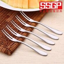 Stainless Steel Fruit Cake Dessert Fork Silver Salad Fork Tableware Dinnerware Food Picks