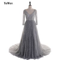 Grey Evening Dresses 2017 Formal Long Sleeves Gown See Through Backless Beading Crystal Handwork Prom Dresses