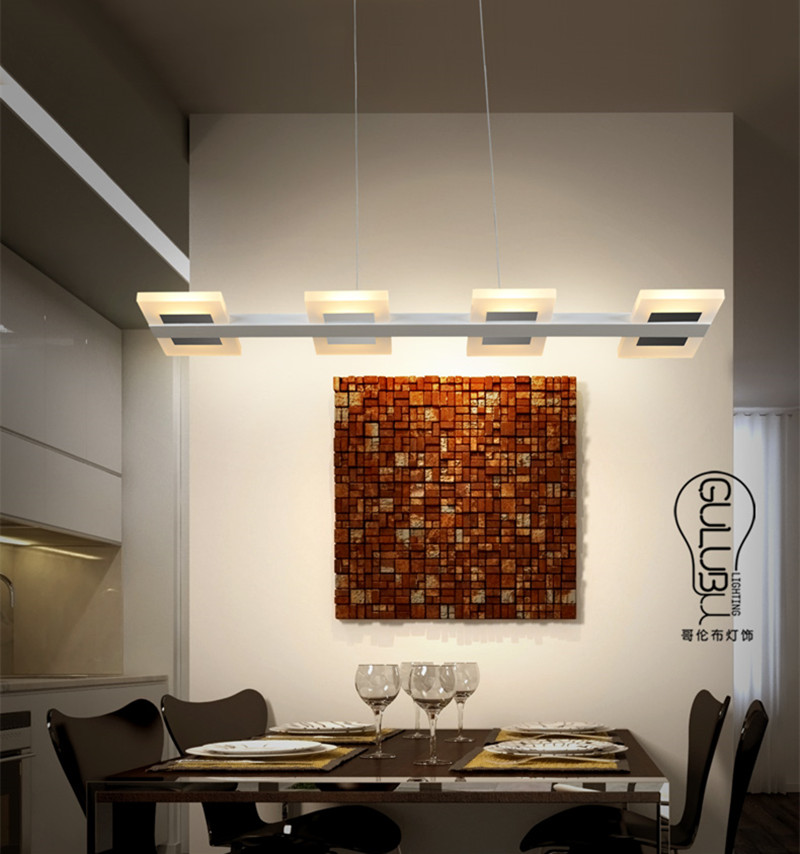 6 8 Lights Kitchen Led Lighting Chandelier Rectangular Acrylic