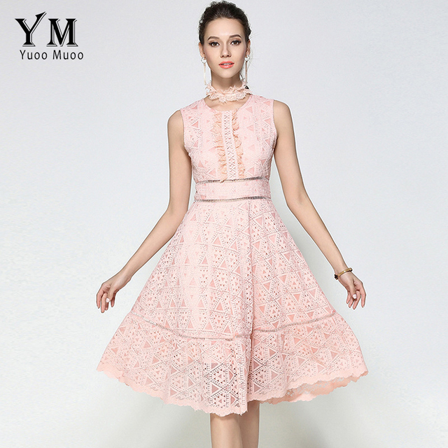 7bcbbb093d9 YuooMuoo Women Pink Lace Vintage Elegant Cute Dress Fashion Ladies Floral  Summer Party Sexy Club Long Dresses