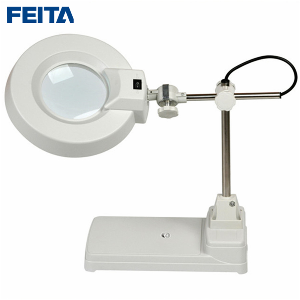 FEITA-86B Magnifying Crafts Glass Desk LED Lamp + 5X &10X Table Type Optical Magnifier+LED Lamp Industrial Magnifying Bai Bo chic quality imitation wood handle 90mm 10x metal frame magnifying glass