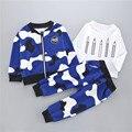 3 unids 2017 Ropa Del Bebé 2016 Otoño Ropa de Bebé Conjuntos Chaquetas + camiseta + Pantalones de Camuflaje Camuflaje 3 Unids para Ropa de Bebé