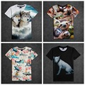 High quality street art style big boy loose comfortable short sleeve round neck 3d animal pattern print boy t shirt 14-20 years
