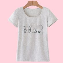 Fashion Funny T-Shirt with Cats Printed