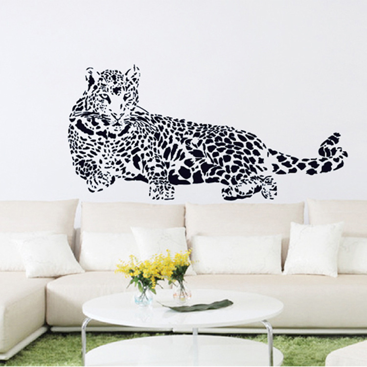 New Design Removable PVC Transparent Film Sketch Leopard Home Decoration Wall Stickers Living Room Sofa Wall Decals Wallpaper