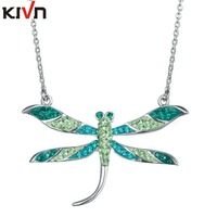 KIVN Fashion Jewelry Dragonfly CZ Cubic Zirconia Women Girls Wedding Bridal Pendant Necklaces Christmas Promotion Birthday