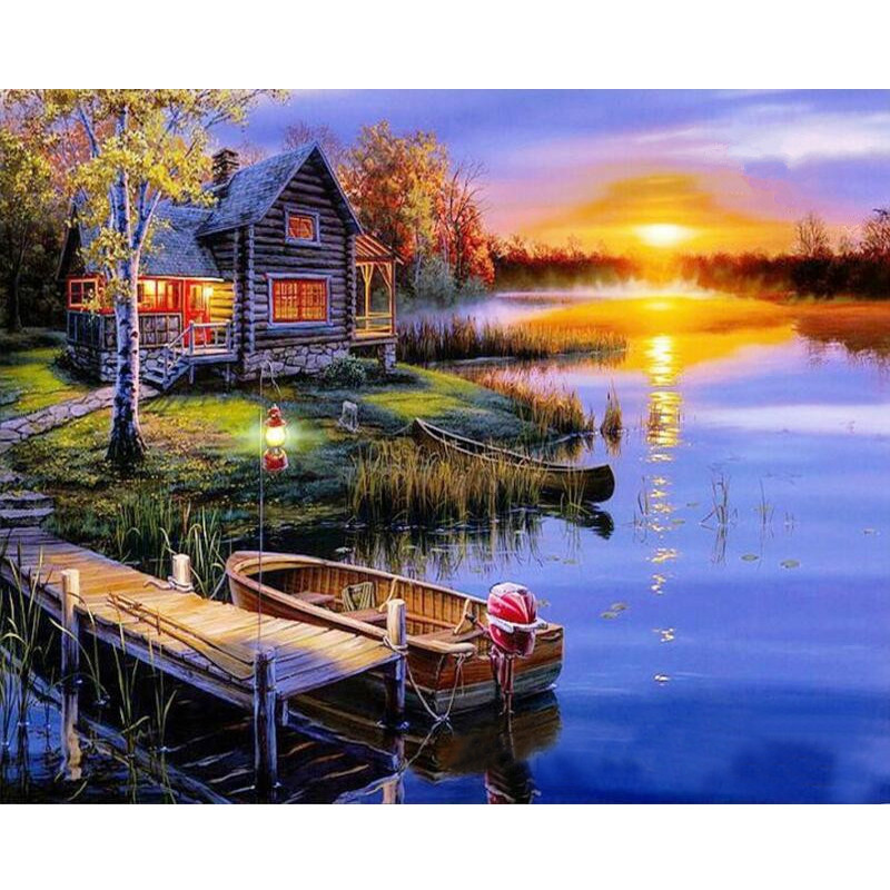 Lake And Dawn Hand Made Paint High Quality Canvas Beautiful Painting By Numbers Surprise Gift Great Accomplishment
