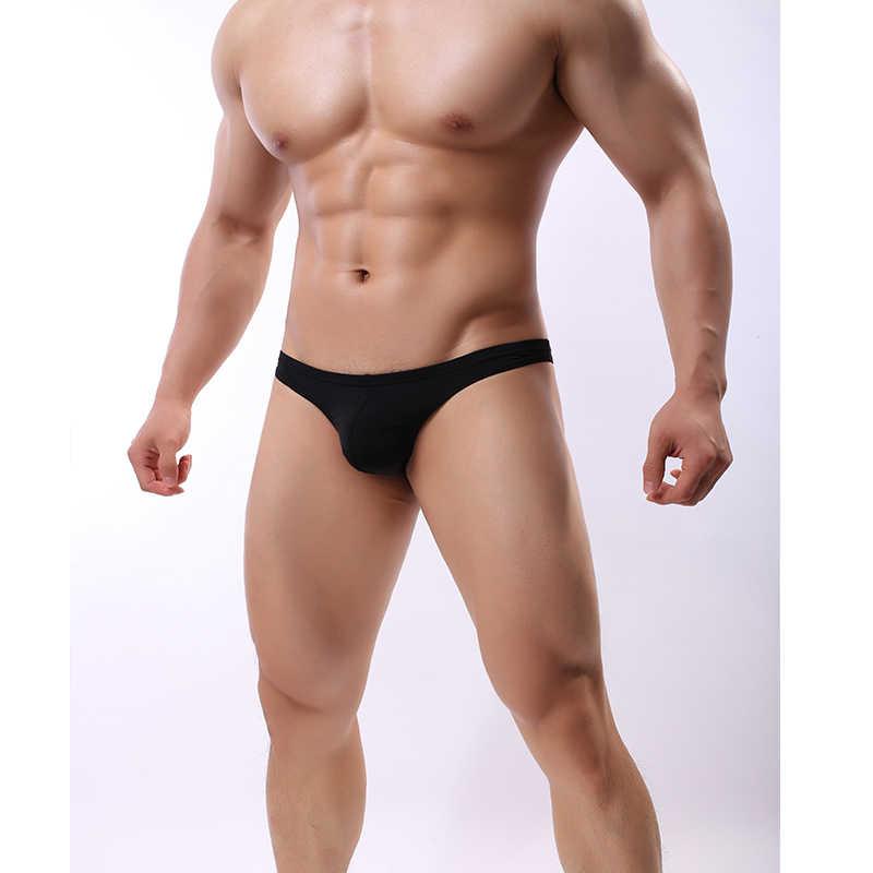 Mini Breifs Solid Color Simple Sexy Transparent Briefs Seamless Summer Bikini Penis Silk Ice Underwear Men  Plus Size M-XXL  A2