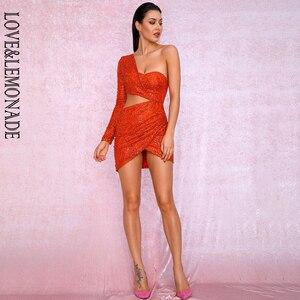 Image 3 - Aşk ve limonata seksi turuncu kesip tek kollu Glitter tutkal boncuk malzemesi Bodycon parti elbise LM81650