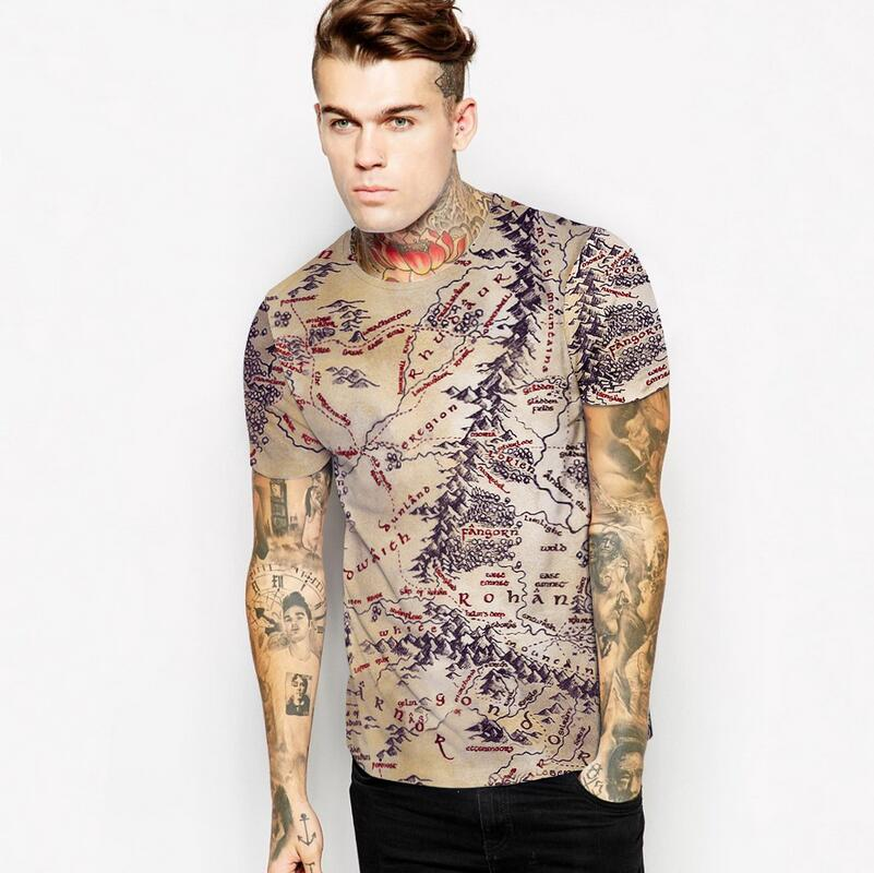 Map of Europe And The United States Hit a New Mens Retro 3d Digital Printing Leisure Breathable Loose 3d T Shirt